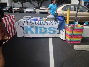 The Miracles for Kid booth all set up with goodies.